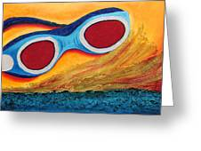 Goggles In The Sand Greeting Card