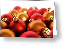 Gold And Red Xmas Balls Greeting Card