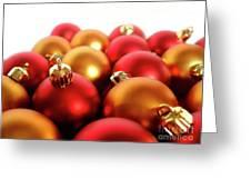 Gold And Red Xmas Balls Greeting Card