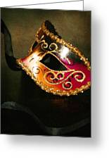 Gold Scroll Masquerade Mask Greeting Card