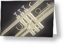 Gold Trumpet On Black Greeting Card