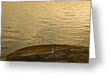 golden evening light on a Washington state ferry Greeting Card