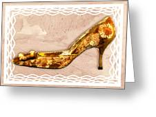 Golden Floral Royalty Shoe Greeting Card