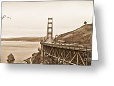 Golden Gate Bridge In Sepia Greeting Card