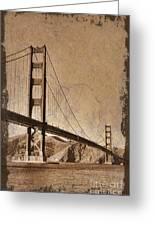 Golden Gate Bridge Sepia Greeting Card