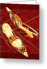 Golden Lattice Slingbacks On Royal Red Carpet Greeting Card