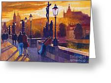Golden Prague Charles Bridge Sunset Greeting Card by Yuriy  Shevchuk