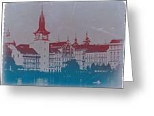 Golden Prague Greeting Card by Naxart Studio