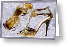 Golden Studded Stilettos Greeting Card
