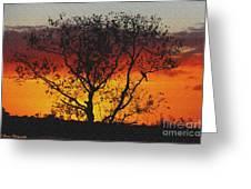 Golden Sunset Over Circle B Bar Sandstone Greeting Card