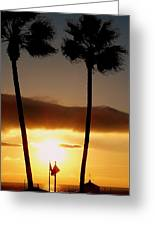 Golden Twin Palms Sunset Greeting Card