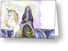 Golden Unicorn By The Sea Greeting Card