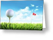 Golf Ball With Tee In The Grass  Greeting Card