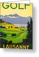 Golfing In Lausanne Greeting Card