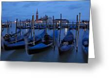 Gondolas At Dusk In Venice Greeting Card