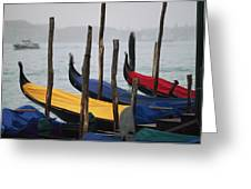 Gondolas At Harbor On A Misty Day Greeting Card