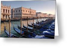 Gondolas Docked Outside Of Piazza San Greeting Card
