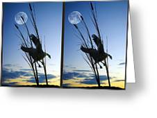 Goose At Dusk - Cross Your Eyes And Focus On The Middle Image Greeting Card