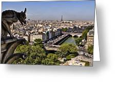 Gorgyle View Of Paris Greeting Card