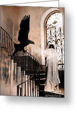 Gothic Surreal Grim Reaper With Large Eagle Greeting Card