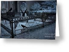 Gothic Surreal Night Gargoyle And Ravens - Moonlit Cemetery With Gargoyles Ravens Greeting Card