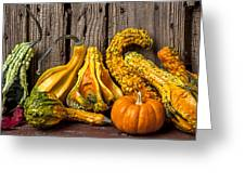 Gourds Against Wooden Wall Greeting Card