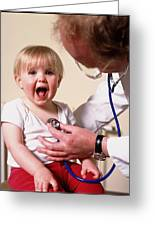 Gp Doctor Examines Child's Chest With Stethoscope Greeting Card