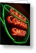 Grace Coffee Shop Neon Greeting Card