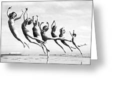 Graceful Line Of Beach Dancers Greeting Card