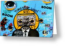 Graffiti Boombox  Man Greeting Card