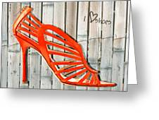 Graffiti Orange Cage Stilettos Greeting Card