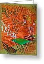 Grafitti Dining Greeting Card by Joan  Minchak