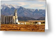 Grain Silo Below Wasatch Range - Utah Greeting Card