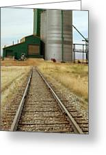 Grain Silos And Railway Track Greeting Card