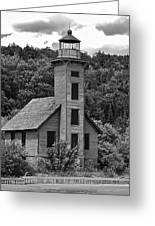 Grand Island Lighthouse Bw Greeting Card