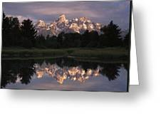Grand Teton Range And Cloudy Sky Greeting Card