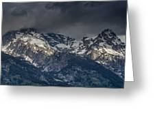 Grand Tetons Immersed In Clouds Greeting Card