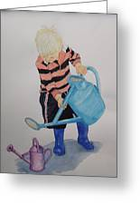 Granda Series-it Won't All Go In. Greeting Card by Peter Edward Green