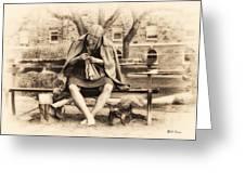 Granny Sitting On A Bench Knitting Ursinus College Greeting Card
