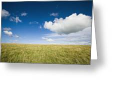 Grassy Field On Hill With Blue Skies Greeting Card