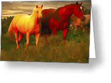 Grazing In The Late Evening Light Greeting Card