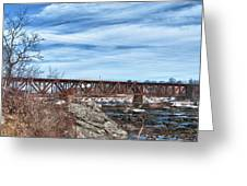 Great Falls Rr Bridge 10477c Greeting Card