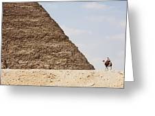 Great Pyramid Of Khufu Cheops And Camel Greeting Card