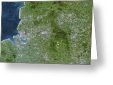 Greater Manchester, Satellite Image Greeting Card by Planetobserver
