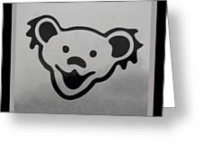 Greatful Dead Dancing Bear In Black And White Greeting Card