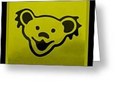 Greatful Dead Dancing Bear In Yellow Greeting Card