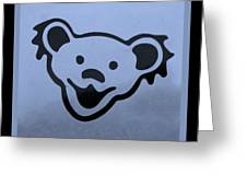Greatful Dead Dancing Bears In Cyan Greeting Card