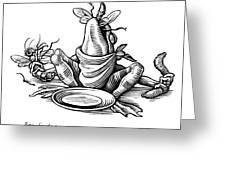 Greedy Frog, Conceptual Artwork Greeting Card by Bill Sanderson