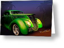 Green 37 Ford Hot Rod Decked Out For A Tropical Saint Patrick Day In South Texas Greeting Card