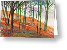 Green And Blue Trees Greeting Card